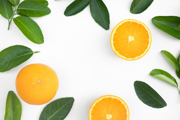 Top view of orange fruit and leaves on table background.concepts ideas of fruit,vegetable.healthy eating