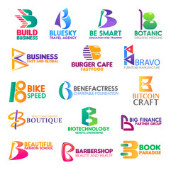 Business icons, letter B corporate identity