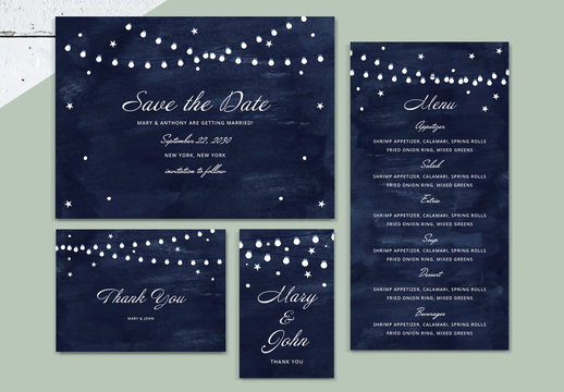 Wedding Invitation Suite with String Lights Illustration
