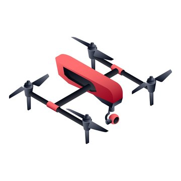 Red cinema drone icon. Isometric of red cinema drone vector icon for web design isolated on white background
