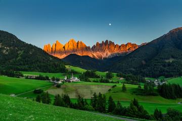 Iconic Dolomites  mountain landscape in Santa Maddalena, Funes valley, Italy.