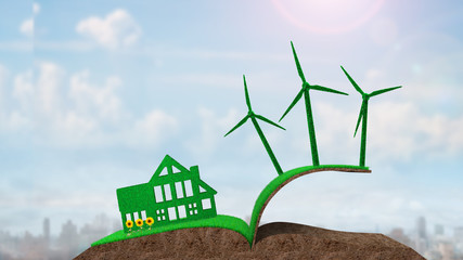Green house, green energy and circular economy concept, green house and wind turbines on grass soil in book shape with sunflowers, on sunny clouds sky background.