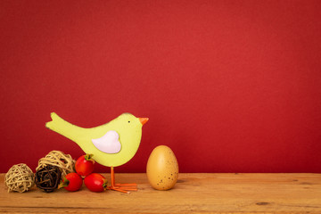 bird with an egg easter holiday decoration background