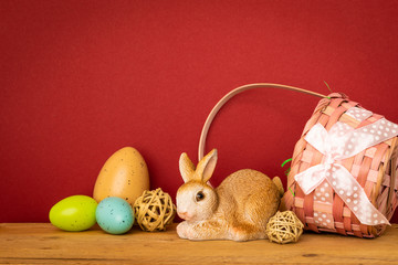 sweet easter bunny figure in a basket