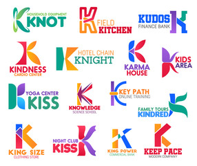 K letter corporate identity, business icons