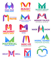 M letter corporate identity, business icons