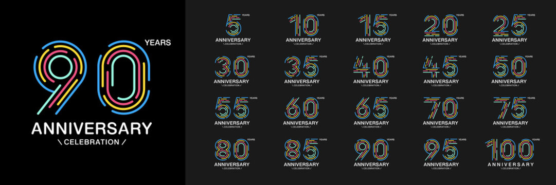 Set of anniversary logotype. Colorful anniversary celebration icons. Design for company profile, booklet, leaflet, magazine, brochure, invitation or greeting card.