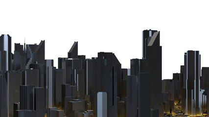 Downtown city skyscrapers. City with glow lines road and digital elements. 3D Rendering.