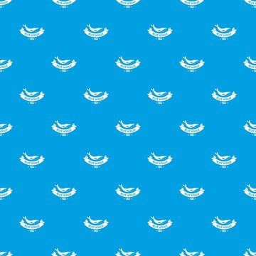 Blue whale pattern vector seamless blue repeat for any use