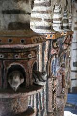 Cosse-Le-Vivien city, Mayenne, France - August 8, 2018: Robert Tatin Museum in France, modern art, inside the temple.