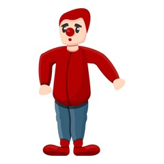 Red clown icon. Cartoon of red clown vector icon for web design isolated on white background