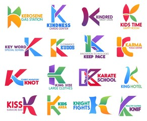 Business icons, letter K, corporate identity