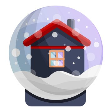 Snowglobe house icon. Cartoon of snowglobe house vector icon for web design isolated on white background
