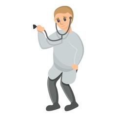 Pediatrician stethoscope icon. Cartoon of pediatrician stethoscope vector icon for web design isolated on white background