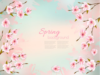 Fototapete - Spring nature background with a pink sakura blossom. Vector
