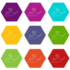Clockwork mouse icons 9 set coloful isolated on white for web