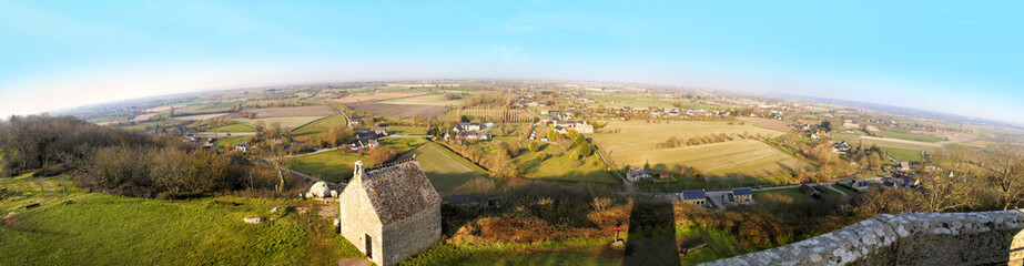 Panoramic of Mont-Dol near Saint-Malo-city, Brittany, France