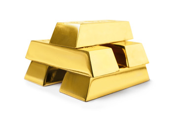 Stack of shining gold bars isolated on white