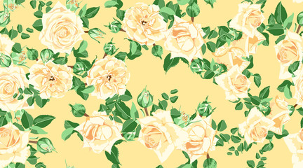 Floral Seamless Pattern with Vintage Roses.
