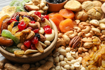 Composition of different dried fruits and nuts, closeup