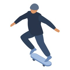 Man skateboard trick icon. Isometric of man skateboard trick vector icon for web design isolated on white background