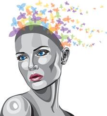 WOMAN METALLIC FACE WITH BUTTERFLIES