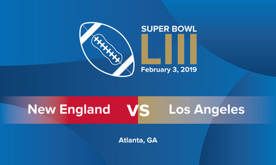 Super Bowl - the final game of the season in American football for the title of champion. Ball for american football. Super Bowl Sunday 2019 poster and background