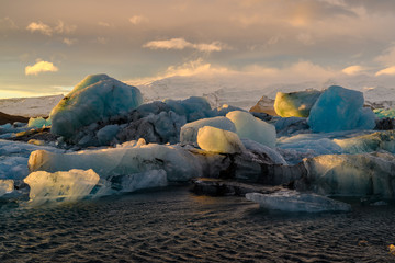 Ice floes on Jokulsarlon lake, a famous glacier lagoon in Vatnajokull National Park, Iceland