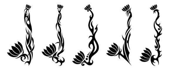 Set of five black tribal pattern flower tattoos on white background