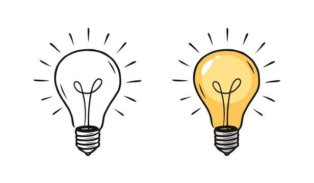 Light bulb sketch. Electric light, energy concept. Hand drawn vector illustration