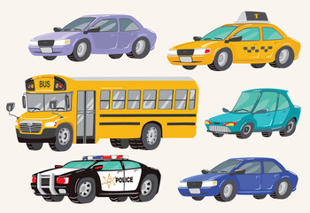 Set of Toy Vehicles. Special Machines, police car, Cars, school bus, city bus. Toy Cars. Vector Illustration