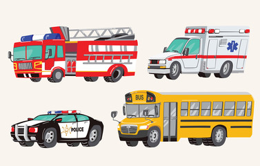 Set of Toy social Vehicles. Special Machines, police car, fire truck, ambulance, school bus, city bus. Toy Cars. Vector Illustration.