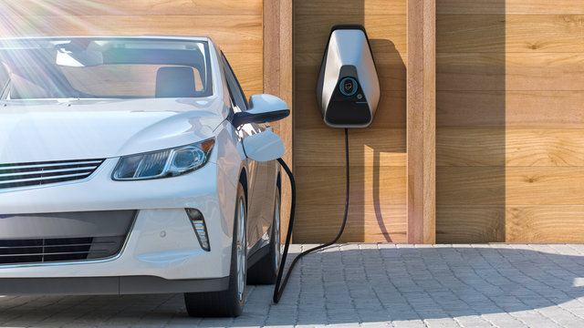 electric vehicle of the future using smart electric car charging station at home frontal perspective