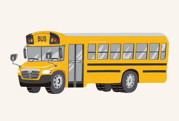 Funny cute hand drawn cartoon School Bus Illustration. Toy Yellow School Bus. Toy Vehicles for Boys. Vector illustration