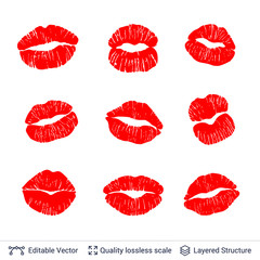 Set of red lips prints isolated on white.