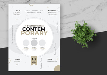 Event Flyer Layout with Soft Gold Accents