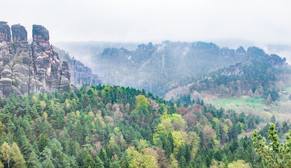 Bastei Dresden Germany.Park Saxon Switzerland.The cliffs are located not far from Rathen near the town of Pirne in the south-east of Dresden.The rocks in the fog.Beautiful landscape.Mountains travel.
