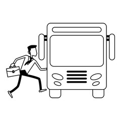 businessman with briefcase taking bus black and white