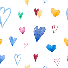Hand-drawn doodle seamless pattern with hearts. Can be used for wedding invitation, card for Valentine's Day or card about love.