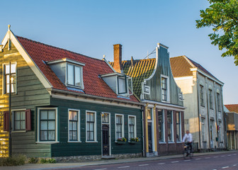 Street of the picturesque ethnographic town Zaandam, the Netherlands, Europe
