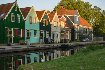 Image of beautiful old houses of Zaandamin early morning, province North Holland, Netherlands, Europe