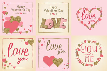 Happy Valentine's Day greeting card set. Love. Gold and pink colors. Poster. Hand drawn heart. Design for wedding. February 14 banner