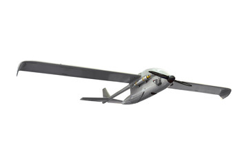 Military strike combat unmanned air vehicle UAV airplane reconnaissance spy drone isolated.