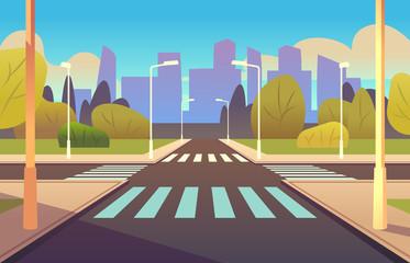 Cartoon crosswalks. Street road crossing highway traffic urban landscape building, crosswalk car, empty sidewalk