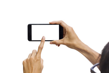 Man hand holding black horizontal smartphone with white screen for mock up design.