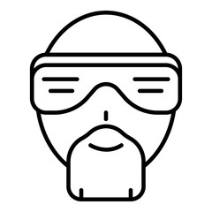 Hip hop man face icon. Outline hip hop man face vector icon for web design isolated on white background