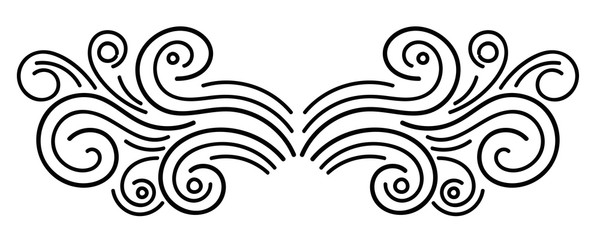 Black abstract curly element for design, swirl, curl. Divider, frame isolated on white background. Vector illustration.