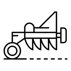 Tractor plough icon. Outline tractor plough vector icon for web design isolated on white background