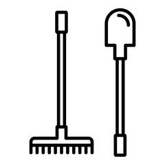 Garden rake shovel icon. Outline garden rake shovel vector icon for web design isolated on white background