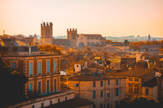 warm colored montpellier with castle in the background